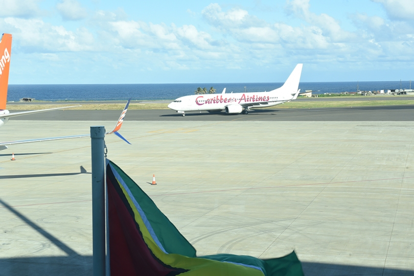 The first Caribbean Airlines flight to touch down at the new airport